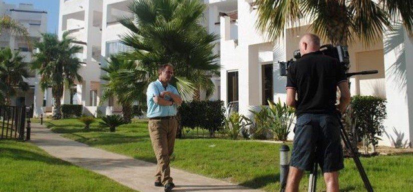 ITV film crew with La Vida Spain on Terrazas de la Torre
